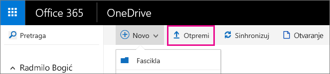 Otpremanje datoteka u OneDrive for business.