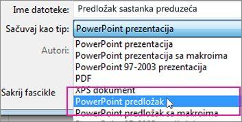 Čuvanje kao PowerPoint predloška