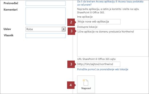Novi ekran za kreiranje Access Veb aplikacije