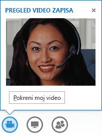 Snimak ekrana pokretanja video zapisa iz trenutne poruke