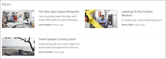 Poklopac ekrana Veb segmenta za vesti na SharePoint lokaciji, gde su objavljene objave