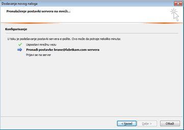 """Dijalog """"Dodavanje novog naloga"""" koji ukazuje na to da se konfigurišu postavke servera e-pošte"""