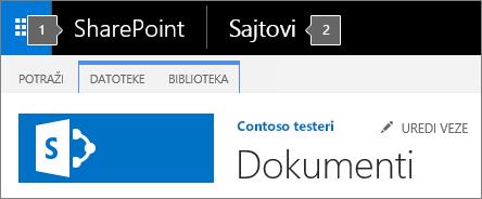 SharePoint 2016 gornji levi ugao ekrana koji prikazuje pokretanje aplikacija i naslov