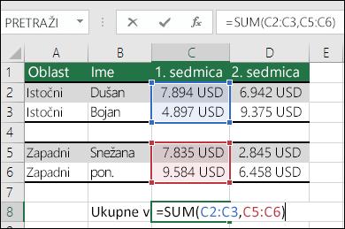 Korišćenje funkcije SUM sa opsezima nesusednih ćelija.  Formula ćelije C8 je =SUM(C2:C3,C5:C6). Možete koristiti i opsege sa imenom, pa će formula biti =SUM(Sedmica1,Sedmica2).