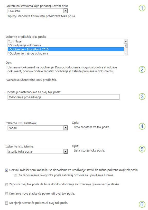 Dodavanje osnovnih informacija o toku posla za pozvanim odeljcima