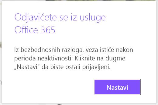 Neaktivni Office 365 odjavi poruka upozorenja