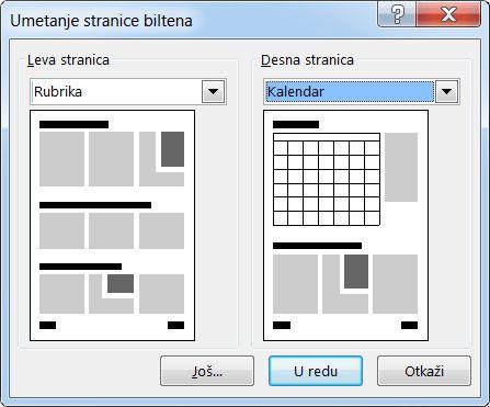 """Dodavanje novih stranica u bilten pomoću dijaloga """"Umetanje stranica biltena""""."""