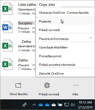 """Meni """"Centar aktivnosti"""" koji se pojavljuje kada kliknete na OneDrive ikonu obrazovanja"""