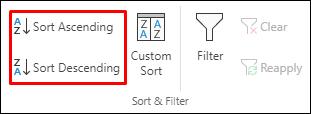 """Excel dugmad za sortiranje po rastućem ili opadajućem redosledu na kartici """"Podaci"""""""