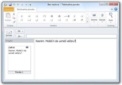Prozor za SMS tekst
