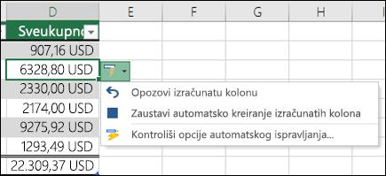 Opcija opoziva izračunate kolone, kada unesete formulu