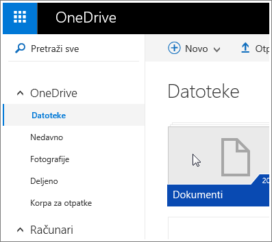 "Snimak ekrana fascikle ""Dokumenti"" u usluzi OneDrive."