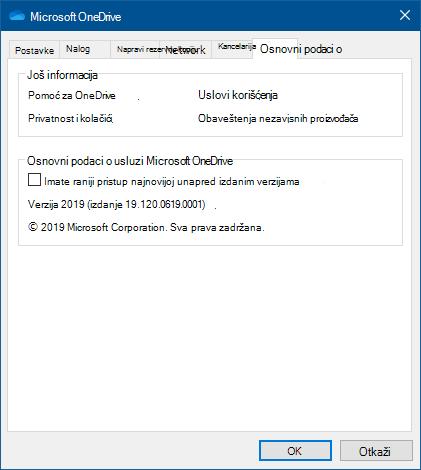 OneDrive o korisničkom interfejsu