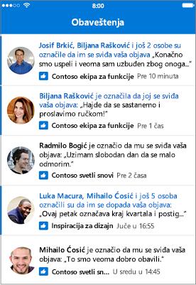 Obaveštenja aplikacije za mobilne uređaje Outlook grupe