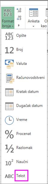 Format teksta za brojeve