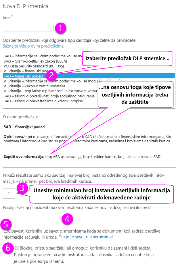 Nove opcije za DLP smernice