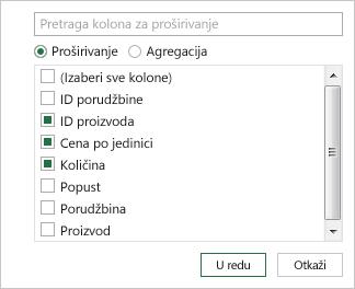 Izbor imena kolona