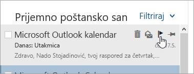 Snimak ekrana zastavicu opciju na listi poruka