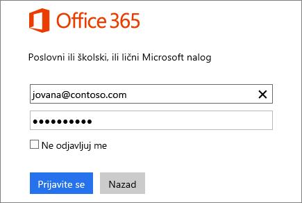 Snimak ekrana okna za prijavljivanje u Office 365