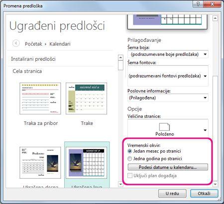 Lokacija za menjanje ili podešavanje datuma kalendara.