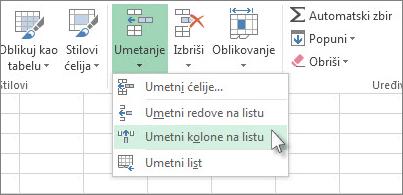 Izaberite stavku Umetanje, a zatim kliknite na Umetanje kolona na list