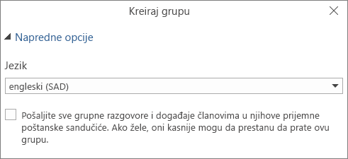 Odaberete da pošaljete e-poruku grupe u prijemno sanduče korisnika