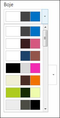 Snimak ekrana menija za izbor boje na novoj SharePoint lokaciji