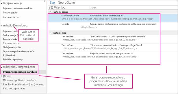 Kada dodate Gmail nalog, videćete dva naloga u programu Outlook