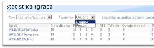 Uzorak prikaza podataka
