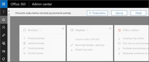 Prikazuje Početna stranica centra administracije za stranicu sa sivih se izgled.