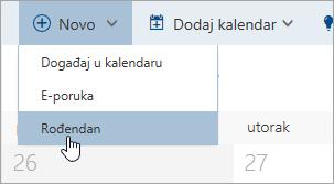 """Snimak ekrana menija """"novo"""" sa kursor preko opcija za rođendan"""