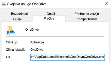 Snimak ekrana koji prikazuje meni svojstava za aplikaciju OneDrive.