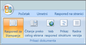 Snimak ekrana prikazuje grupi prikazi dokumenta sa izabranom opcijom rasporeda za štampanje. Ostale opcije dostupne su čitanje preko celog ekrana, Veb raspored, prikaz strukture i radna verzija.