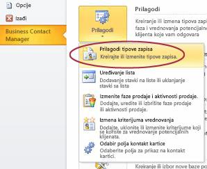 """Komanda """"Prilagodi tipove zapisa Menadžera za poslovne kontakte"""" u prikazu """"Backstage"""" programa Outlook"""