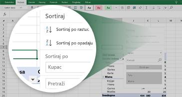 Excel radni list sa izvedenom tabelom i zumiranim skupom dostupnih funkcija