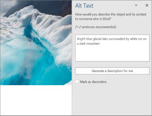 """Dijalog """"novi alternativni tekst"""" koji prikazuje automatizisani alternativni tekst u programu Word"""