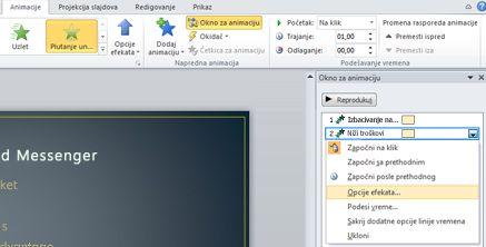 Okno za animacije, dodavanje opcija efekata u efekat