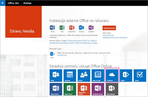 """U pokretanju aplikacija odaberite pločicu """"OneDrive""""."""