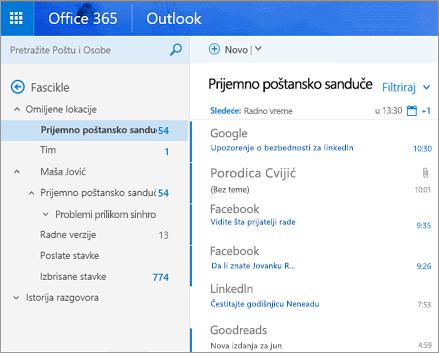 Primarni prikaz usluge Outlook na vebu