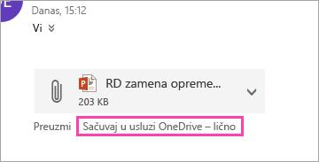 Snimak ekrana Sačuvaj do dugmeta OneDrive