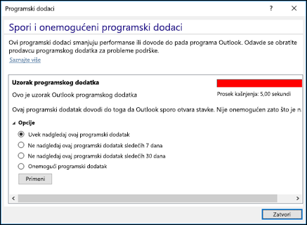 Onemogućavanje programskih dodataka za Outlook