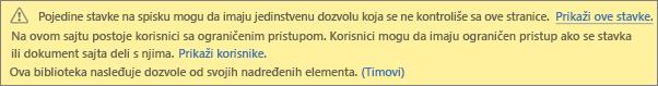 Slika koja prikazuje poruku za jedinstvene dozvole za listu ili biblioteku
