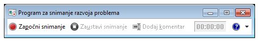 Snimak ekrana programa za snimanje razvoja ili PSR.exe.