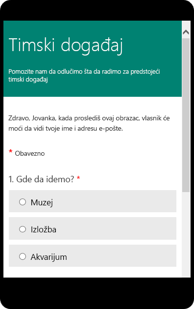 Pregled mobilnog režima za obrazac ankete za razred