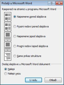 """Dijalog """"Slanje u Microsoft Word"""""""