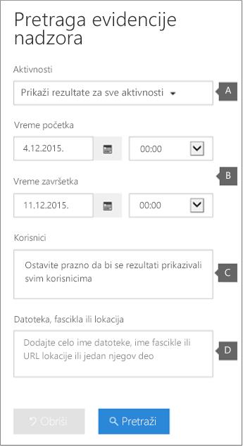 """Konfigurišite kriterijume i kliknite na dugme """"Pretraži"""" da biste pokrenuli izveštaj"""