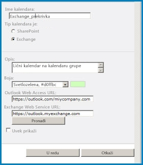 Screenshot of the Calendar Overlay dialog box in SharePoint. The dialog box shows the Calendar name, calendar type (Exchange), and gives the URLs for Outlook Web Access and Exchange Web Access.