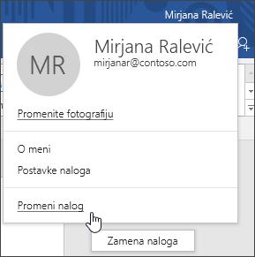 Snimak ekrana koji prikazuje kako da se prebacujete između naloga u Office aplikaciji za računare