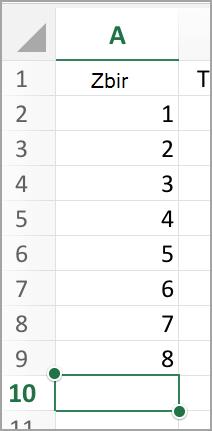 Izbor kolone za automatski zbir