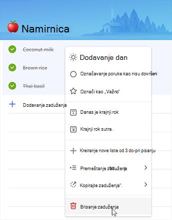 Snimak ekrana koji prikazuje opciju za brisanje obaveza u kontekstualnom meniju